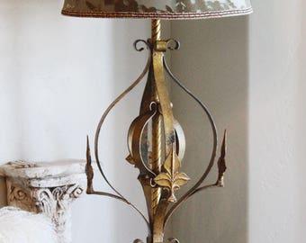 Antique Fleur De Lis Italian Tole Lamp Beautiful Vintage Large