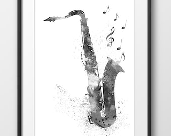 Saxophone Print No2 Black and White Print, Saxophone Watercolor Print, Music Wall Art, Music Poster, Music Instrument Poster, Art (A0252)