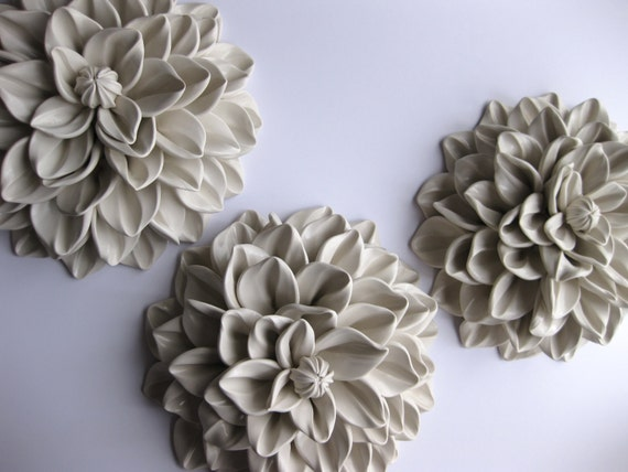 Set of Three Medium Wall Flower Sculptures