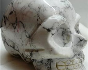 """Amazing Hand Carved """"High Mountain Marble Quartz"""" Crystal Skull Paperweight"""
