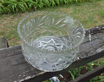 Pressed Glass Bowl, Saw Tooth Rim, 2 3/4 Inches Tall, 4 1/2 Inch Diameter, Candy Dish, Nut Dish, Serving Bowl, Tulip Design With Leaves