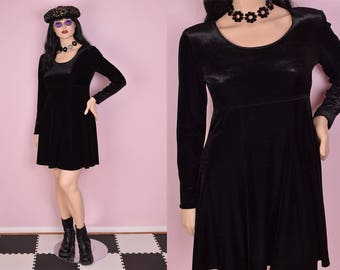 90s Black Velvet Dress/ US 10/ 1990s/ Long Sleeve