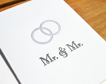 Mr. & Mr. - Engagement  Letterpress Card