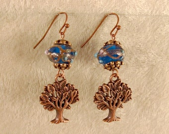 Tree of Life Earrings - Blue Lampwork Beads with Antique Copper Findings - E116