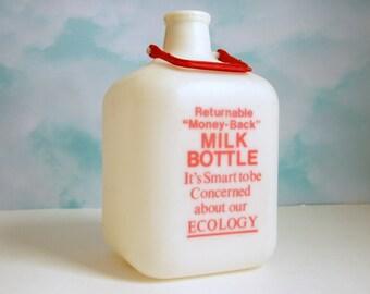 Vintage Milk Jug, Plastic Milk Bottle, Returnable Gallon, Old School Ecology, Dairy Container, 1970s Kitchen Decor