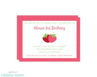 strawberry party invitation, personalized invitations, printable, strawberry party