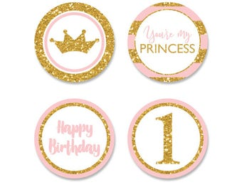 Princess birthday party cupcake toppers,pink and gold party circles,gold glitter and pink birthday,printable pink and gold cupcake toppers