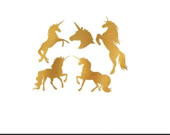 unicorns gold foil wedding engagement clip art svg dxf file instant download silhouette cameo cricut digital scrapbooking commercial use