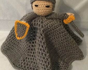 Made to Order - Crocheted Noble Knight Lovey/Security Blanket/Crochet Doll/Amigurumi Doll