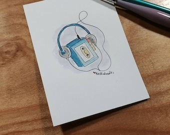 OOAK Mini Doodle Painting of a kawaii Walkman