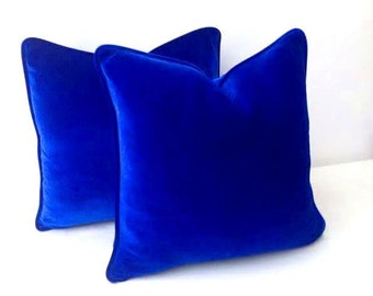Royal Blue Throw Velvet Pillow Cover, Cobalt Blue Cushion Cover, Free Shipping