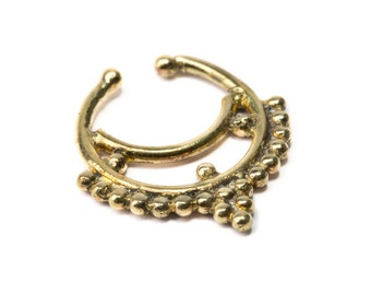 Septum Ring Brass Nickel Free Septum Fake Septum Tribal Jewelery Indian Nose Ring B21 Gift Boxed and Gift Bag Free UK Delivery