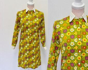 Floral 70s Dress / 1970s Dress / Vintage Dress / Small