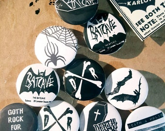 32mm 1.25 inches Set of 10 Batcave Tradgoth Gothic Deathrock Creepy Postpunk Punk 80s Goth Rock Pinback Buttons