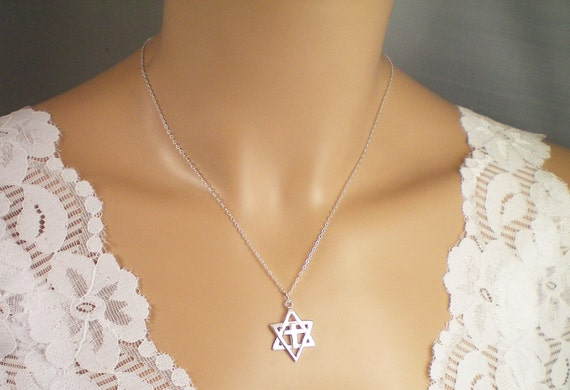 Items similar to star of david with cross necklace all solid items similar to star of david with cross necklace all solid sterling sillver on etsy aloadofball Gallery
