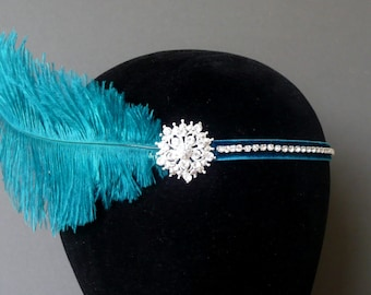 Flapper Headband Teal Blue Feather Headpiece 1920s Fascinator Art Deco 20s Crystal