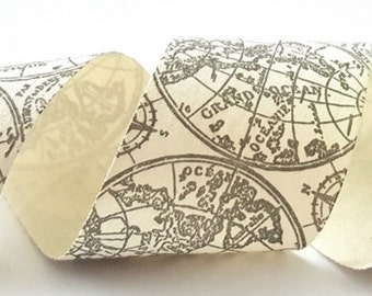 Grey & Cream Old Fashioned Map Print Cotton Ribbon, 50mm wide *Sold Per Metre*