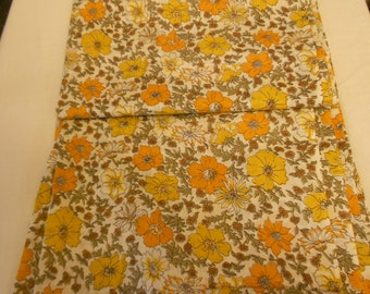 Vintage yellow and brown cottonblend material