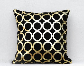 Gold pillow cover,Gold Cushion Cover, Geometric Pillow Case ,Holiday Decorative Pillow Case  Gold03