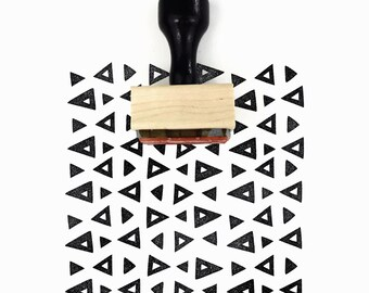 Rubber Stamp Retro Triangles Pattern | Hand Drawn Mod Geometric Pattern Stamp