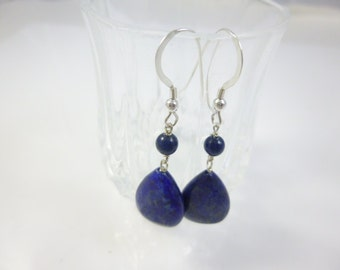 Lapis Earrings, Blue Bead Earrings, Sterling Silver drop earrings, Dangle Earrings, Drop Earrings, Blue Lapis Earrings