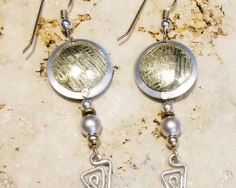 Gold Handcrafted Modern Metal Earrings, Abstract Dangle Jewelry, Long Statement Earrings, Gift For Her - Machu Picchu Earrings by Jon Allen
