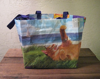 Medium Cat Food Market Tote Bag Purse - Recycled Upcycled Reusable