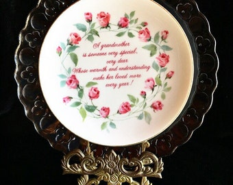 I Love My Grandma • Vintage China Floral Repurposed Glass Wall Art Plate • Grandmother • Family • Love