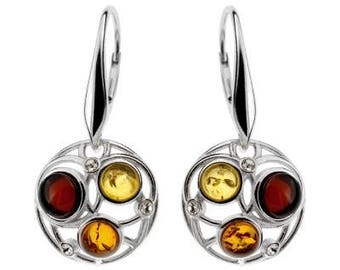 Earrings in amber multicolored on silver.