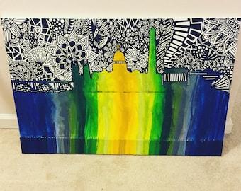 Skyline Crayon Art