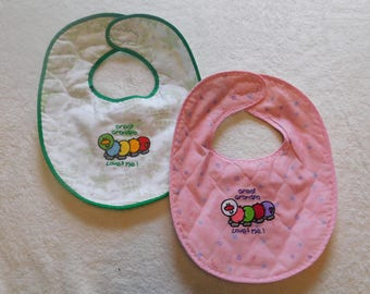 Great Grandpa Loves me colorful caterpillar baby bib