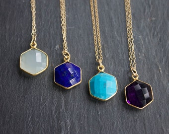 Faceted Gemstone Hexagon Necklace on 14k Gold Filled Chain