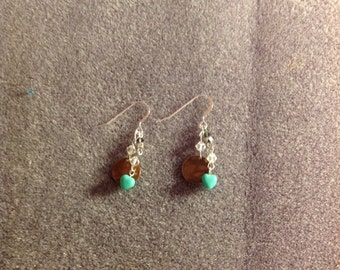 Teal Heart and Bronze Earrings