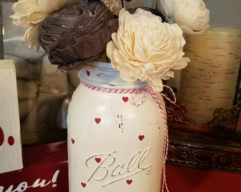 Valentine mini heart mason jar, quart size
