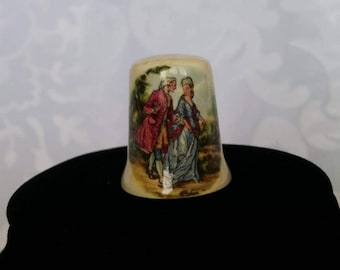 Vintage Thimble Courting Couple, Limoges design Ceramic Thimble