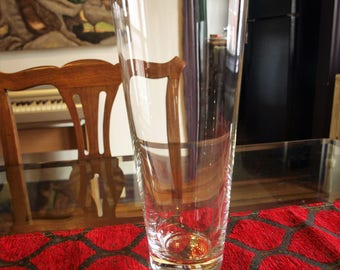 """Large and Tall Tapered Crystal Glass Vase – Classic Contemporary Design – 12"""" tall"""