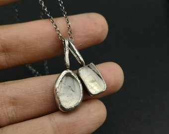 Tribal  Boho OOAK Clear  Rutilated Quartz nature jewelry Modern  Gift for her Raw Sterling silver Layering necklace rustic  Organic Necklace