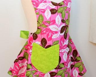 Girls Apron, Reversible Pink Leaves Girls Apron