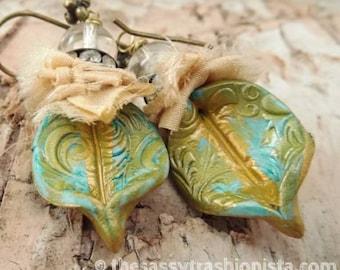 Turquoise and Gold Flourish Sari Silk Clay Earrings