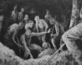 "Haunting Figure Intaglio Print, ""Pit"""