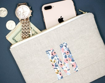 Personalized Floral Clutch, Mother's Day Gift, Initial Pouch, Monogram Travel Pouch, Monogram Pouch, Monogrammed Gifts for Mom Under 50