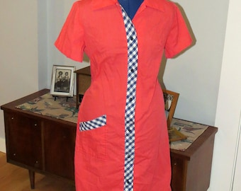 Vintage 1970s Cotton Shift Dress | Orange with blue and white gingham trim | Short Sleeves and Button Front | Sears | Size L - XL