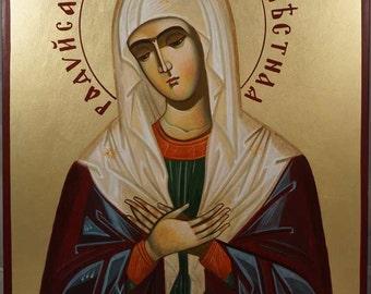 Mother of God Seraphim-Diveyevo Theotokos Virgin Mary Hand-Painted Byzantine Orthodox Icon on Wood 40 x 30cm