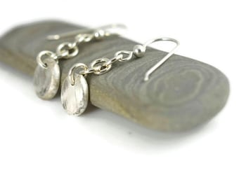 Eco friendly, Recycled Sterling silver Dangle Drop Earrings ,Recycle, Reuse, Argentium sterling silver, Modern, Minimalist, light weight,