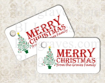 Personalized Christmas Tags, Christmas Tree, Gift Tags Party Favor Treat Bag Tag Handmade TC017