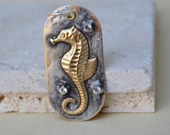 Sea Horse Dog Tag Pendant . Soldered. Sterling. Rhinestone . Pendant Rustic . Sea Horse . Brass