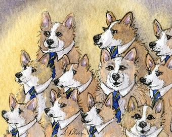 Welsh Corgi dog male voice choir 8x10 print