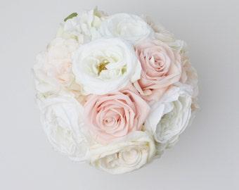 Blush Pink Bouquet Garden Rose Bouquet Wedding Bouquet Silk