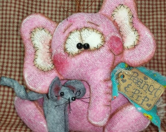 Peanut Elephant and Pip Mouse Pattern #211 - Primitive Doll Pattern