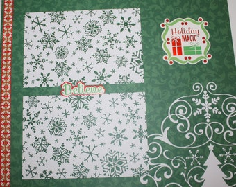 SALE Set of 2 Christmas 12x12 Scrapbook Album Premade Pages, Scrapbooking, Red Green White